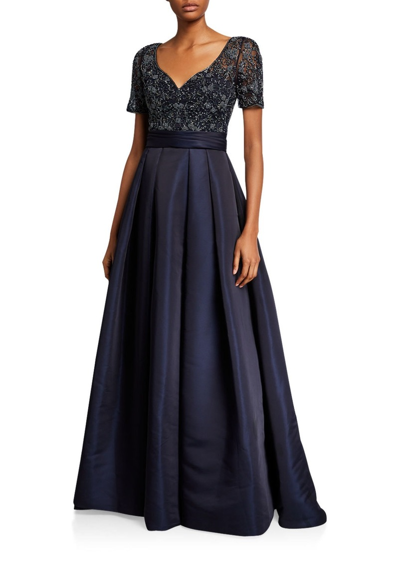 Theia Beaded Bodice V-Neck Short-Sleeve Gown w/ Duchess Satin Skirt