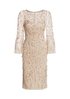Theia Beaded Flounce-Sleeve Sheath Dress