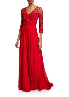 Theia Beaded V-Neck 3/4-Sleeve Gown
