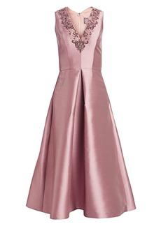 Theia Beaded V-Neck Sleeveless Cocktail Dress