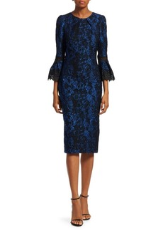 Theia Bell-Sleeve Jacquard Cocktail Dress