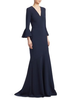 Theia Bell Sleeve V-Neck Gown