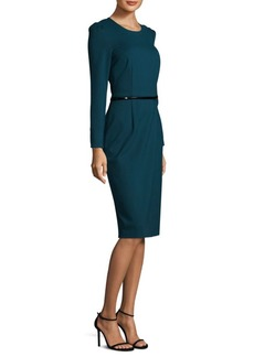 Theia Belted Sheath Dress