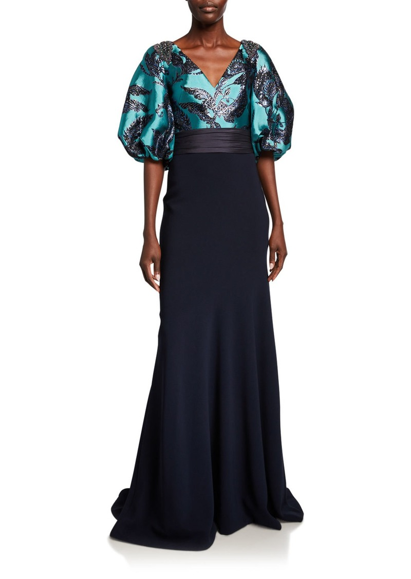 Theia Bishop-Sleeve Jacquard Bodice Gown with Crepe Skirt