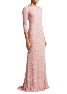 8a0843cb Theia Boatneck Sequin Tulle Gown