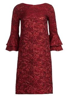 Theia Boatneck Tiered Cuffs Dress