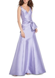 Theia Bow-Front Satin Gown