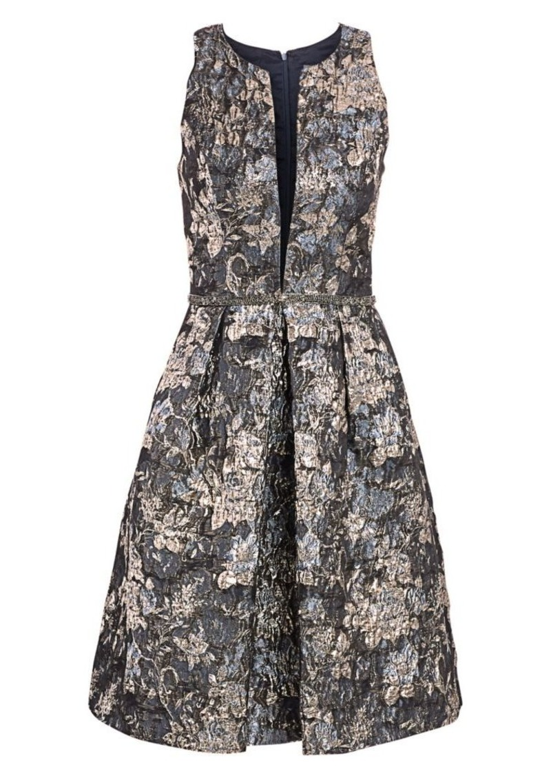 Theia Brocade Fit-&-Flare Dress