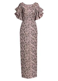 Theia Brocade Ruffle Short Sleeve Gown
