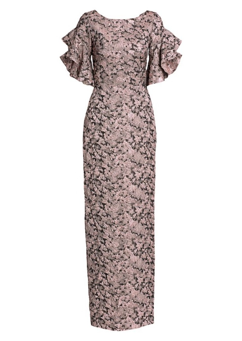 Theia Brocade Ruffle Short Sleeve Gown