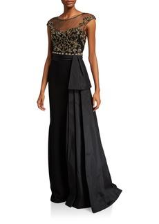 Theia Cap-Sleeve Bead Embellished Bodice Gown w/ Taffeta Bow