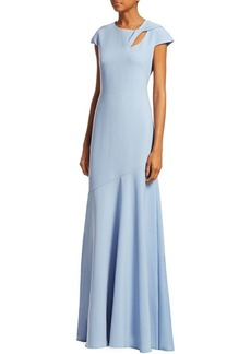 Theia Cap-Sleeve Fit-&-Flare Gown