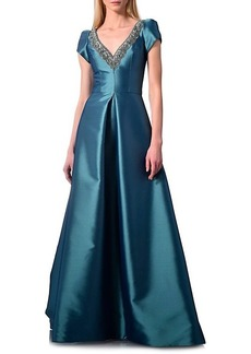 Theia Cap-Sleeve Satin Ball Gown