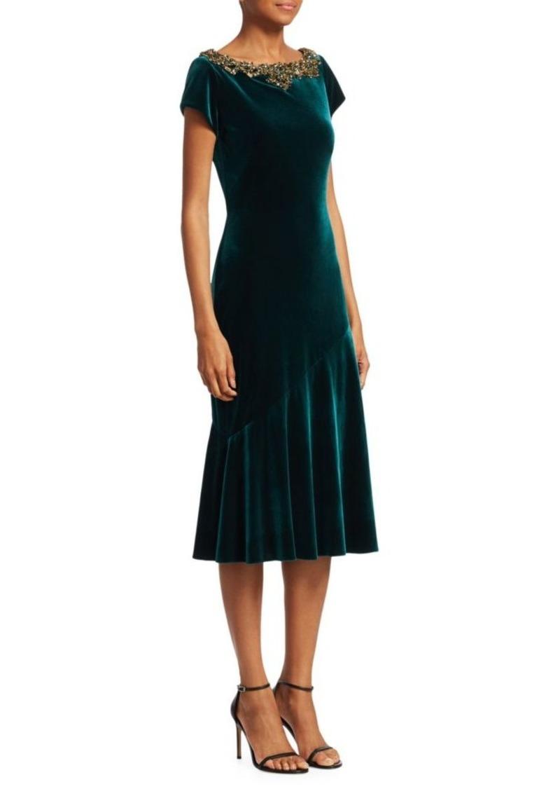 f29d4f0645 Theia Cap Sleeve Velvet Midi Dress