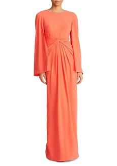 Theia Cape-Sleeve Twist Gown