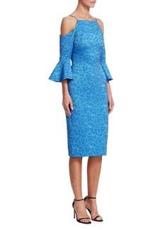Theia Cold-Shoulder Jacquard Dress