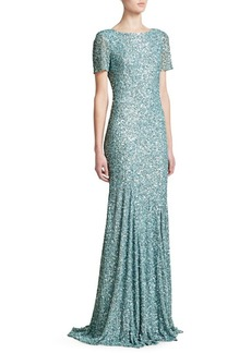 Theia Cowl Back Sequin Trumpet Gown