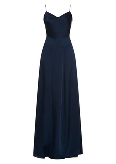 Theia Crepe Back Satin Slip Gown