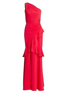 Theia Crepe One-Shoulder Gown