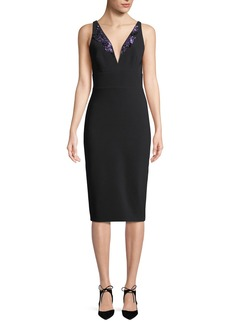 Theia Crepe V-Neck Cocktail Sheath Dress w/ Lilac Beaded Front