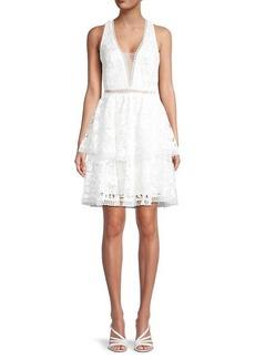 Theia Cross Back Lace Dress