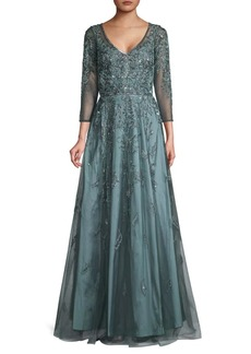 Theia Crystal Bead Embroidery Ball Gown