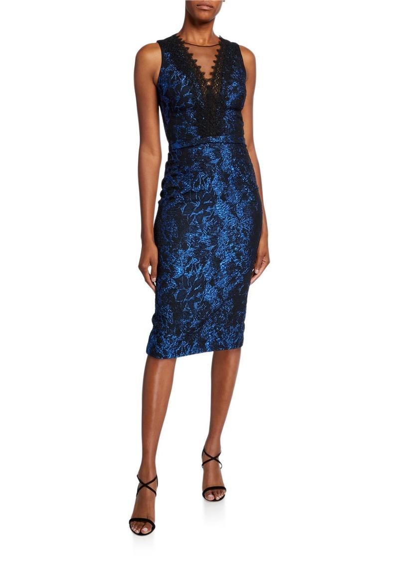 Theia Deep V-Neck Illusion Lace-Trim Sleeveless Dress