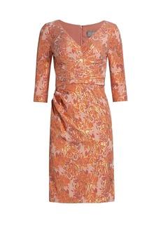 Theia Della V-Neck Jacquard Dress