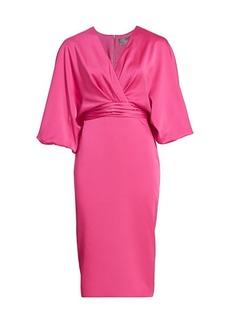 Theia Dolman-Sleeve Wrap Dress