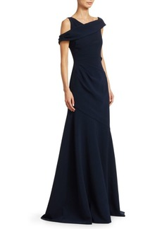 Theia Draped Cross-Shoulder Crepe Gown