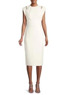 Theia Embellished Crepe Sheath Dress