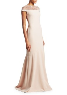 Theia Embellished Neckline Stretch Crepe Gown