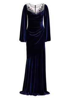 Theia Embellished Ruched Velvet Gown