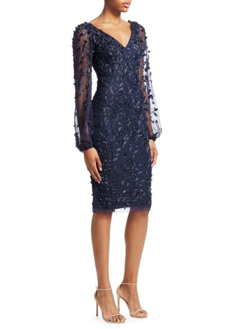 Theia Embellished Sheer-Sleeve Cocktail Dress