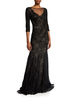 Theia Embellished Tulle 3/4-Sleeve Godet Illusion Gown