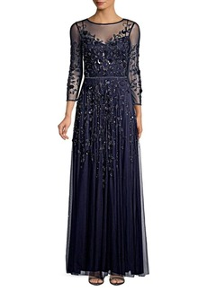 Theia Embellished Tulle Gown