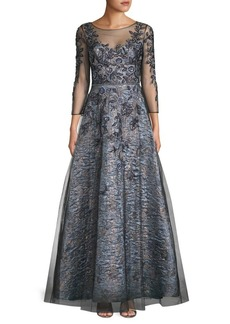 Theia Embroidered Lace Gown