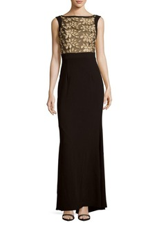 Theia Embroidered Sleeveless gown
