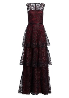 Theia Embroidered Tiered Ruffle Gown