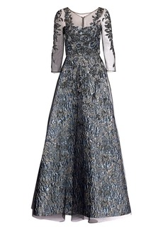 Theia Floral Beaded Illusion Gown