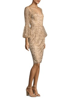 Theia Floral Bell-Sleeve Sheath Dress