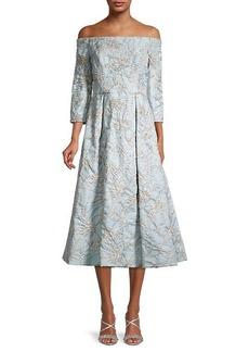 Theia Floral Brocade Cocktail Dress