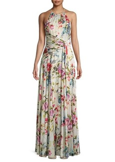 Theia Floral Charmeuse Gown