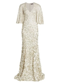 Theia Floral Embroidered Petal Gown