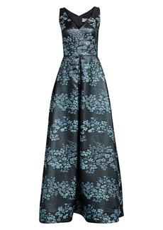 Theia Floral Jacquard Ball Gown