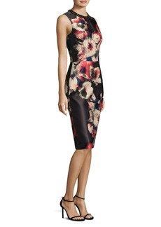 Theia Floral Jacquard Dress