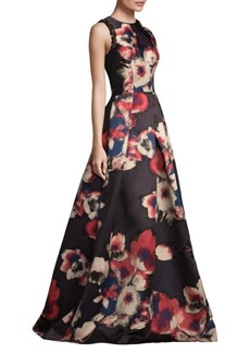 Theia Floral Jacquard Gown