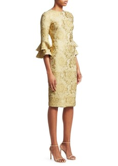 Theia Floral Jacquard Tiered-Sleeve Cocktail Dress