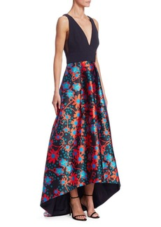 Theia Floral Polka Dot Hi-Lo Gown