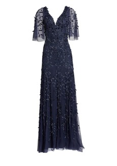 Theia Flutter Sleeve Beaded Gown